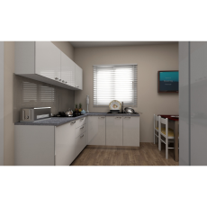 Krios Oberon White L Shaped Kitchen